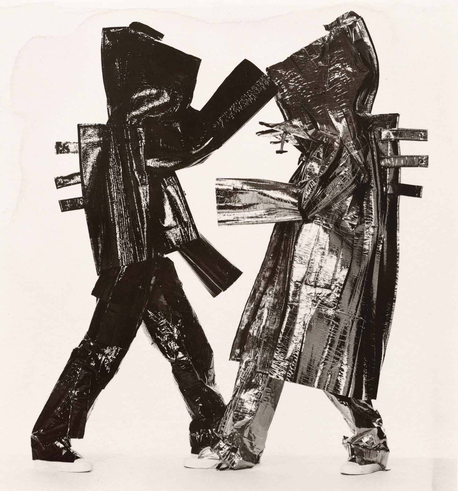 Two Miyake Warriors (A) , New York, 1998 Platinum-palladium print © The Irving Penn Foundation
