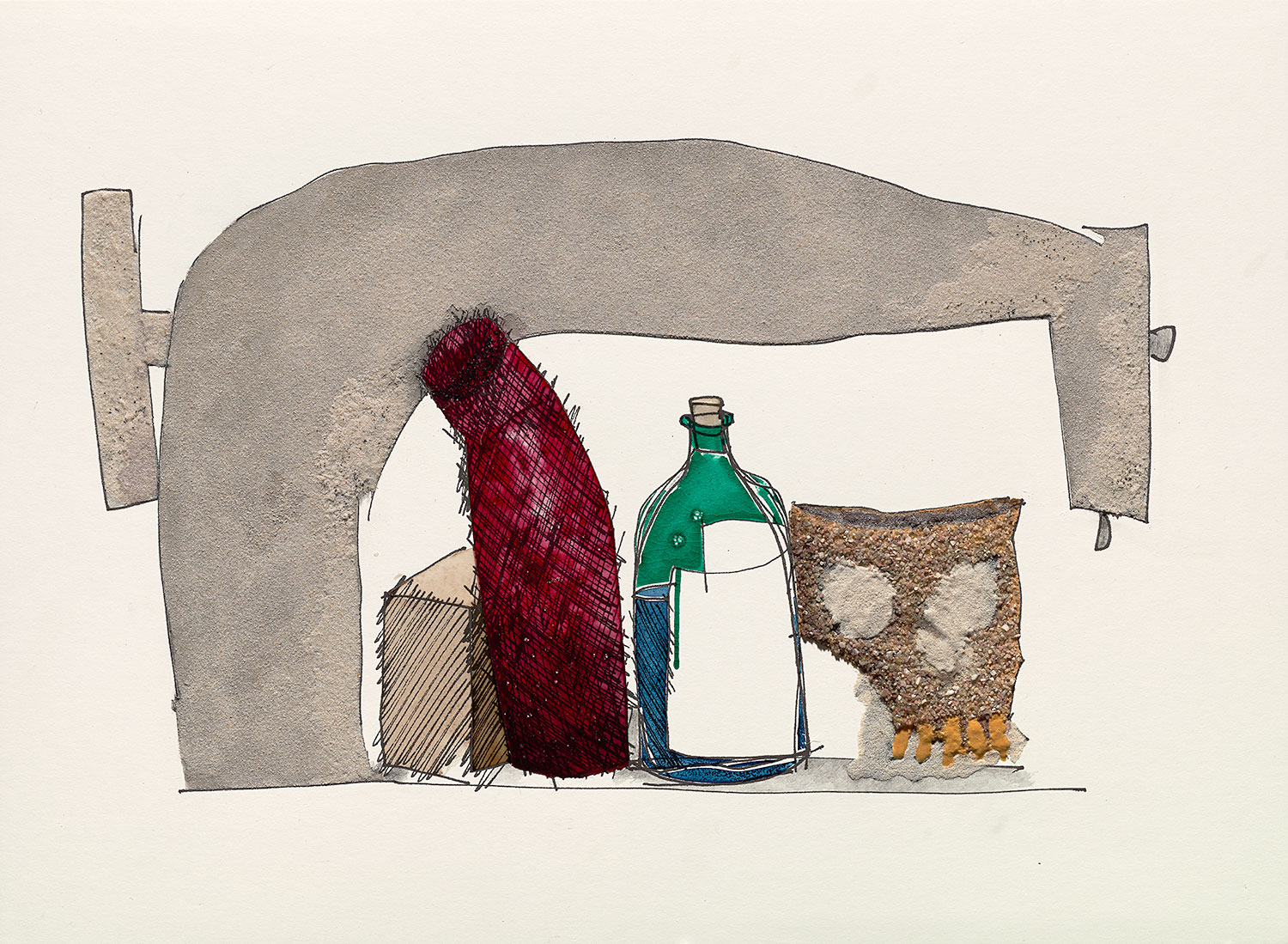 Irving Penn,  Still Life with Skull, Bottle, and Sewing Machine , 2005. Watercolor with sand and gum arabic over inkjet print on paper.  ©  The Irving Penn Foundation.