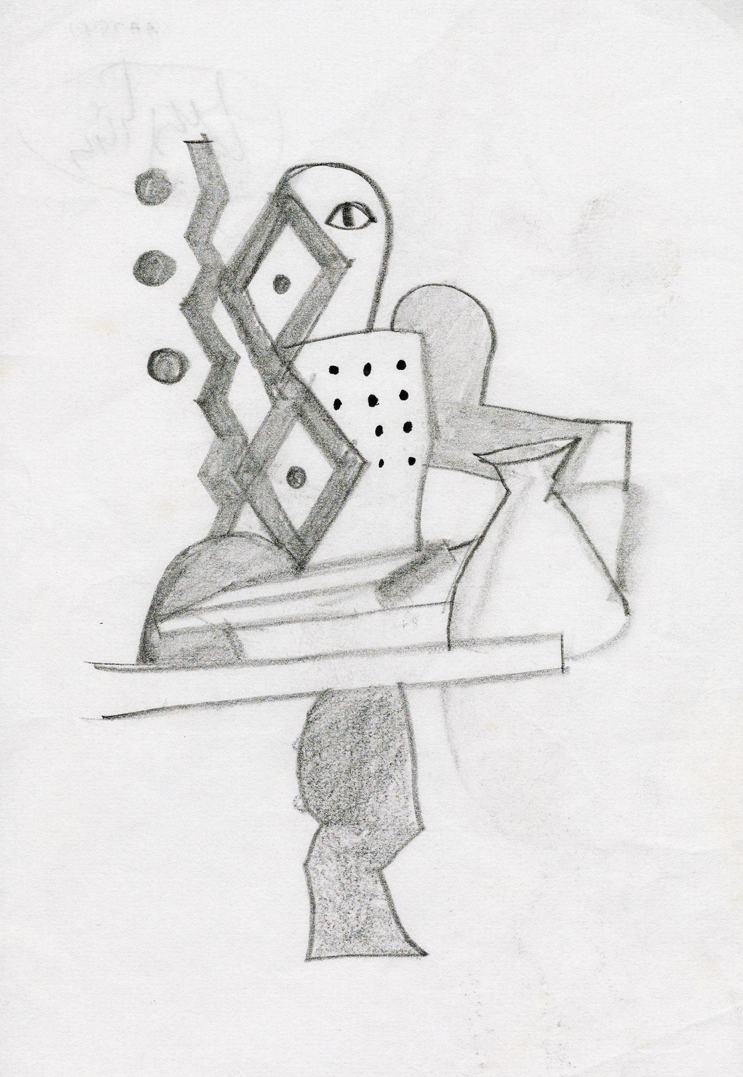 Irving Penn,  Sketch for  The Alchemist  , ca. 2005. Graphite on paper. © The Irving Penn Foundation
