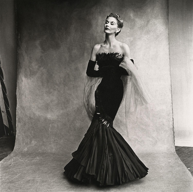 Irving Penn,  Rochas Mermaid Dress (Lisa Fonssagrives-Penn) , Paris, 1950. Platinum-palladium print.  ©  Condé Nast