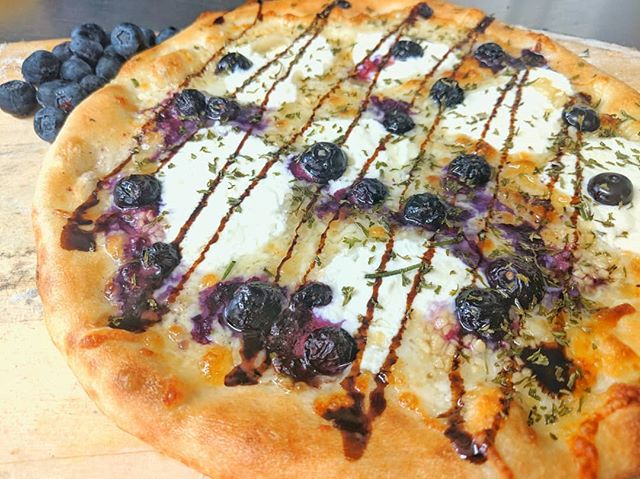 "In Honor Of @newsouthbrewing Big Blues Mammoth.... ""Berry White"" Fresh Blueberries, Ricotta, Mozzarella, Fresh Rosemary, Balsamic Glaze & EVOO Base!!! . . . . . .