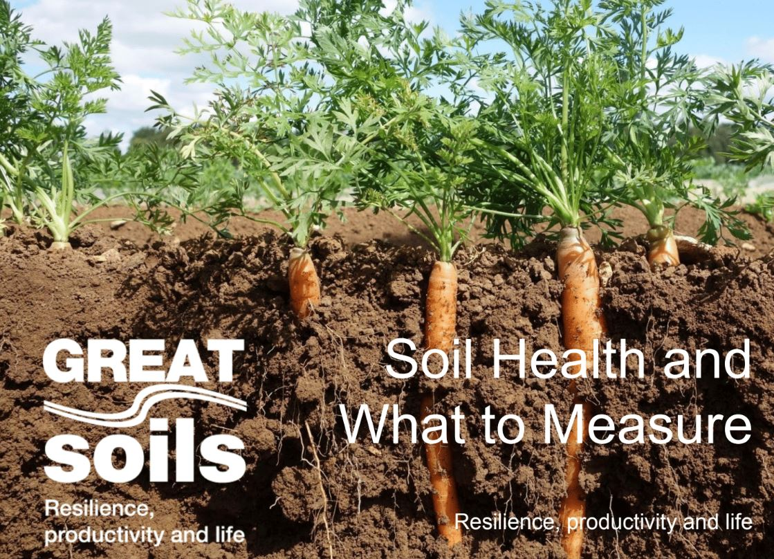 Soil Health and What to Measure -Resilience, productivity and life    AHDB  2016   The project aims to inspire growers to develop their ability to assess the health of their soil, and give growers practical solutions to improve soil health.