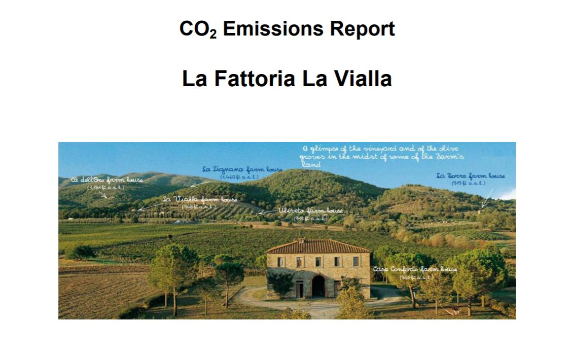CO2 Emissions Report: La Fattoria La Vialla    University of Siena  2012   An ongoing study carried out to quantify emissions of carbon dioxide and other greenhouse gases associated with the activities at Fattoria La Vialla, Tuscany, 2012.