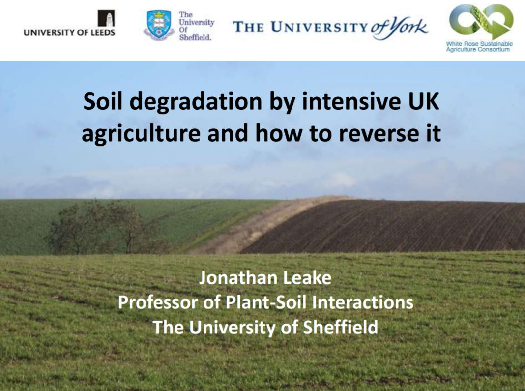 Soil degradation by intensive UK agriculture & how to reverse it    University of Sheffield  June 2017   Soil degradation by agriculture threatens future food security for our increasing global population (&) has implications for a number of key policy areas.