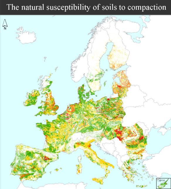 Natural Susceptibility to Soil Compaction in Europe    European Soil Data Centre  2008   The evaluation of the soil's susceptibility is based on the creation of logical connections between relevant parameters.