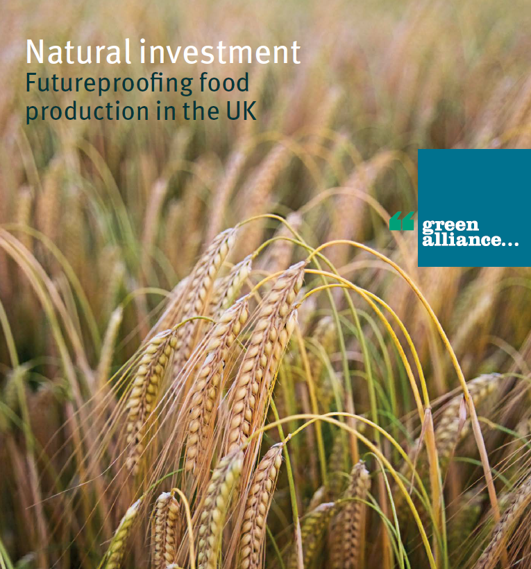 Natural Investment: Futureproofing food production in the UK    Green Alliance, 2017   Food production and agriculture are vital to the UK economy. Yet cheap food has come at the expense of the people & natural systems that produce it.