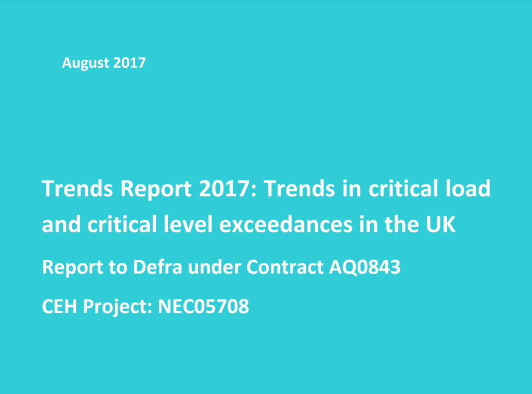 Trends in critical load & critical level exceedances in the UK    Centre for Ecology & Hydrology  August 2017   Critical loads define the amount of acid or nitrogen deposition above which significant harmful effects are expected to occur to sensitive habitats.