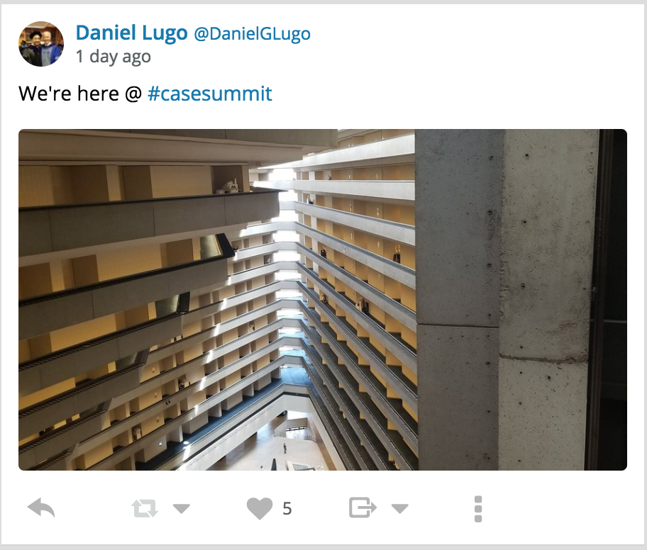 An image and tweet from Colby's Daniel Lugo