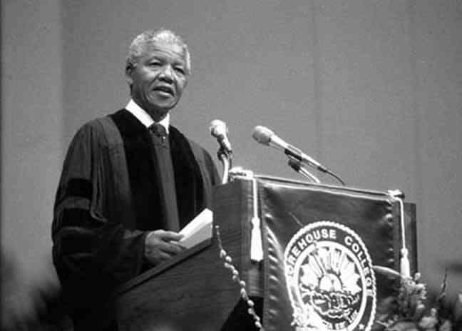 Nelson Mandela at Morehouse College  via WABE90.1