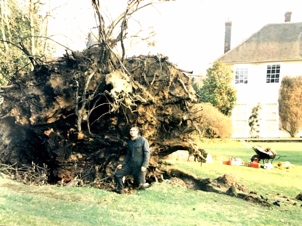 Glenn Morris following the Great Storm of 1987