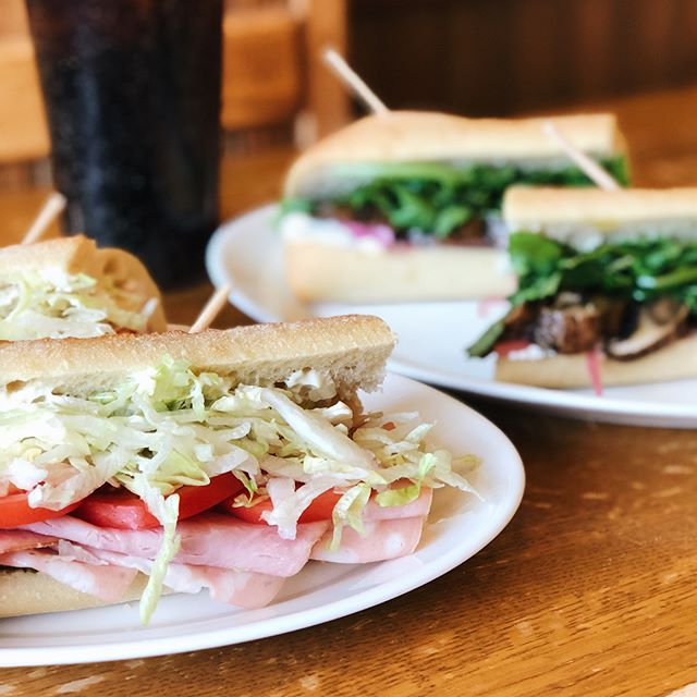 New sandwich alert! Ham & Mortadella with provolone, mayo, lettuce, tomato, and chopped olives and (swipe!) Portobello and Goat Cheese with arugula and pickled red onions. BRB need to go eat one immediately.