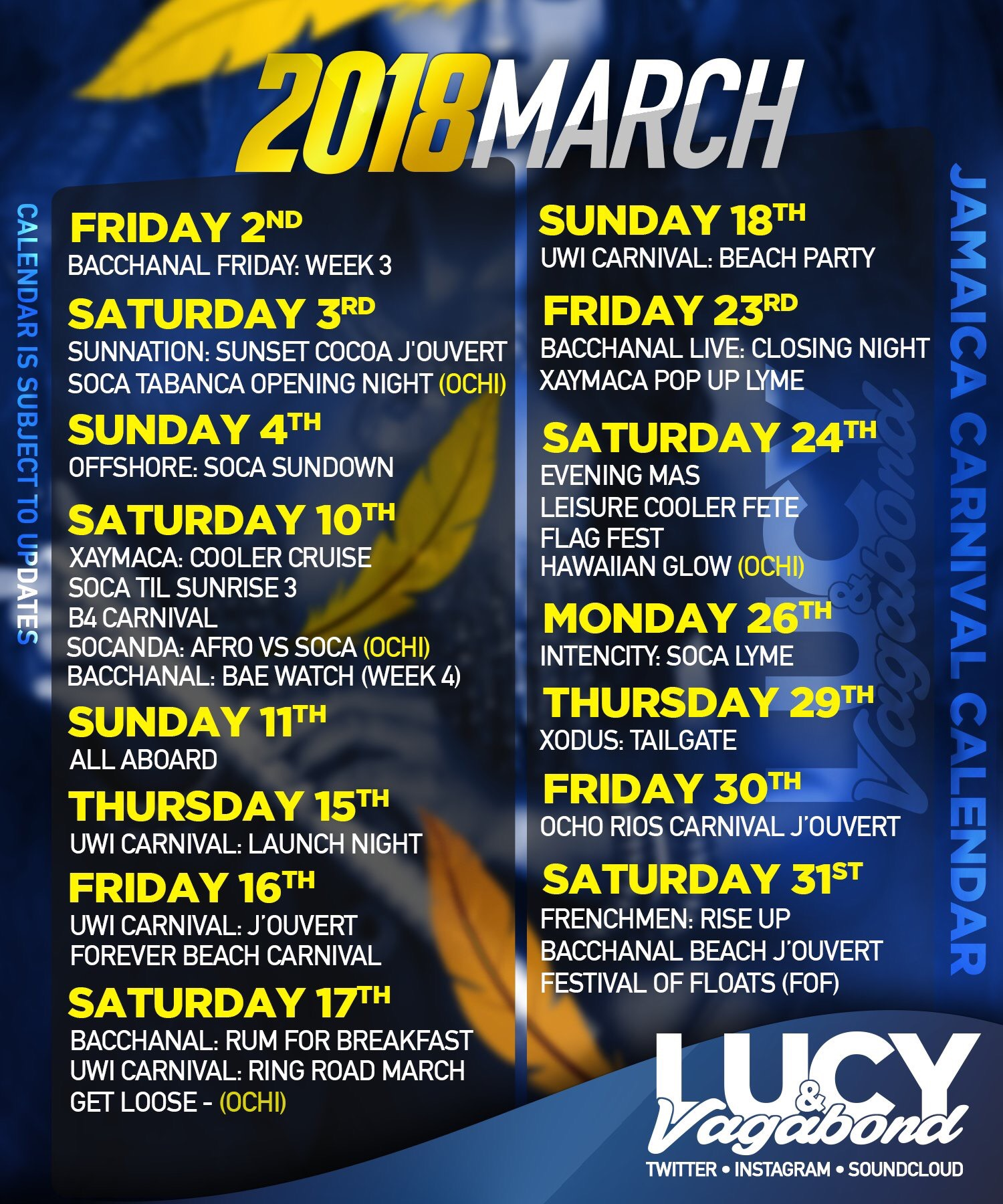 Official JA Carnival Lucy & Vagabond March Calendar