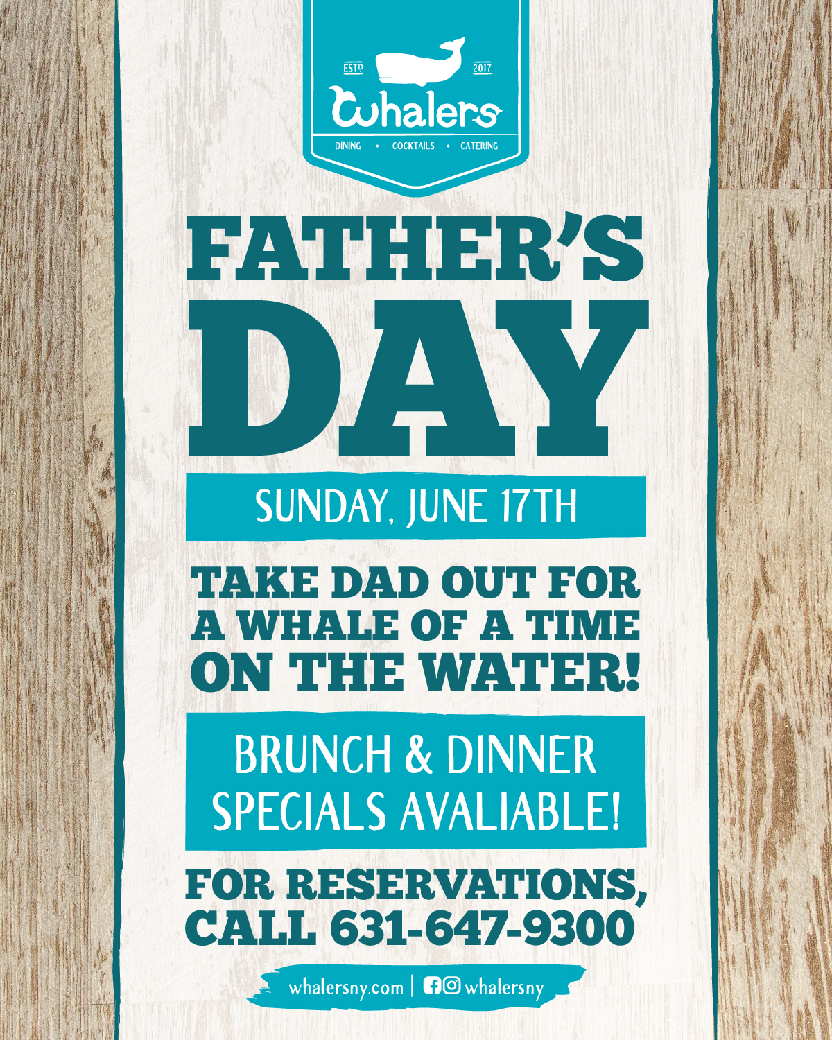 Come celebrate Dad with us from 11:30AM-9PM and enjoy some brunch + dinner specials!