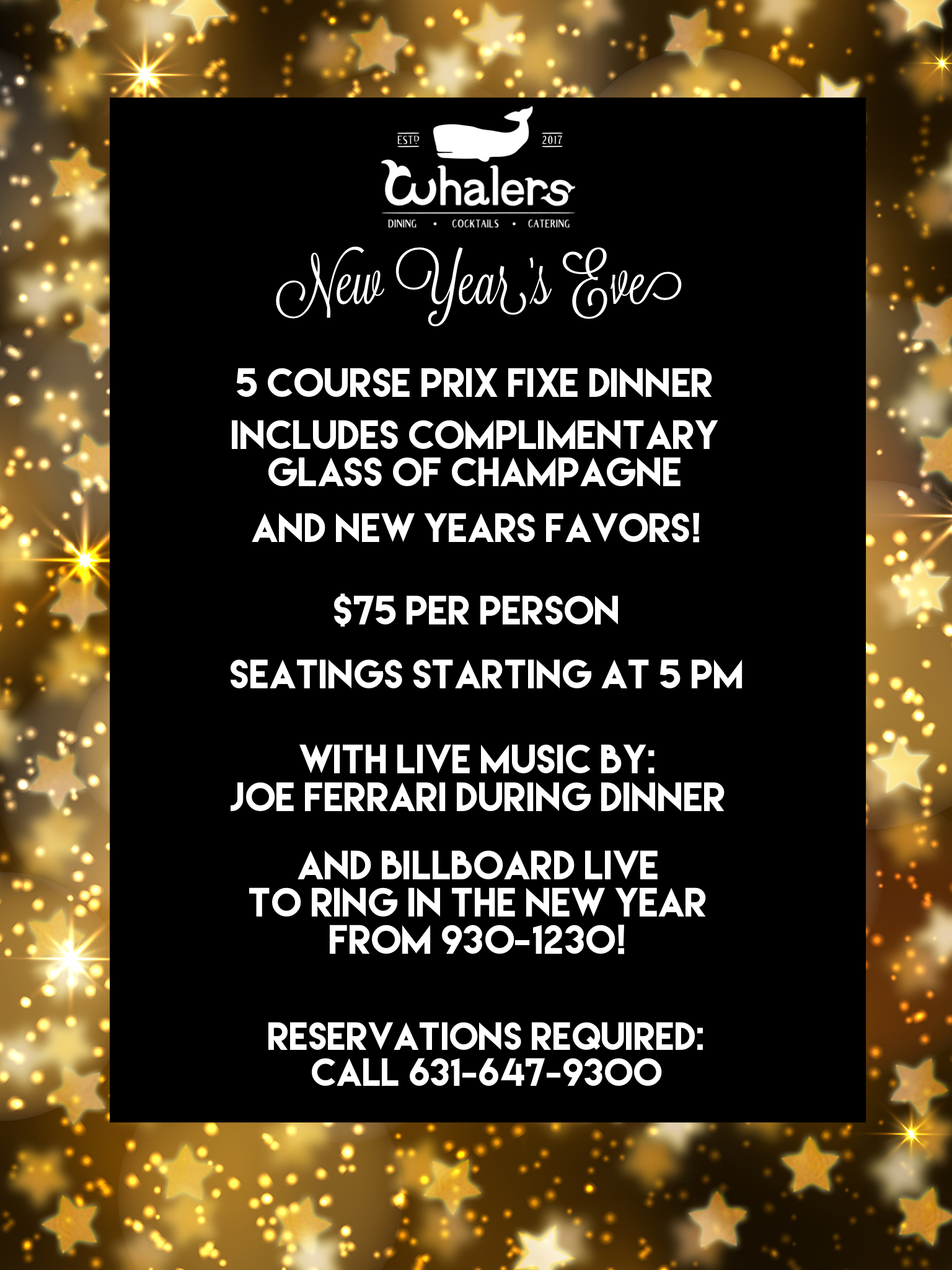 5 course prix fixe dinner  Includes complimentary glass of champagne for 21+  Includes complimentary new years favors  Music: Joe Ferrari during dinner and then Billboard Live at 930-1230 to ring in the new year  Click Image above for menu!  Credit card required to hold reservations. Must cancel by 12/28 at 6 pm otherwise you will be charged full price of the event per person booked.    If you want to see the band only-$20 at the door includes a glass of champagne and a new years favor!