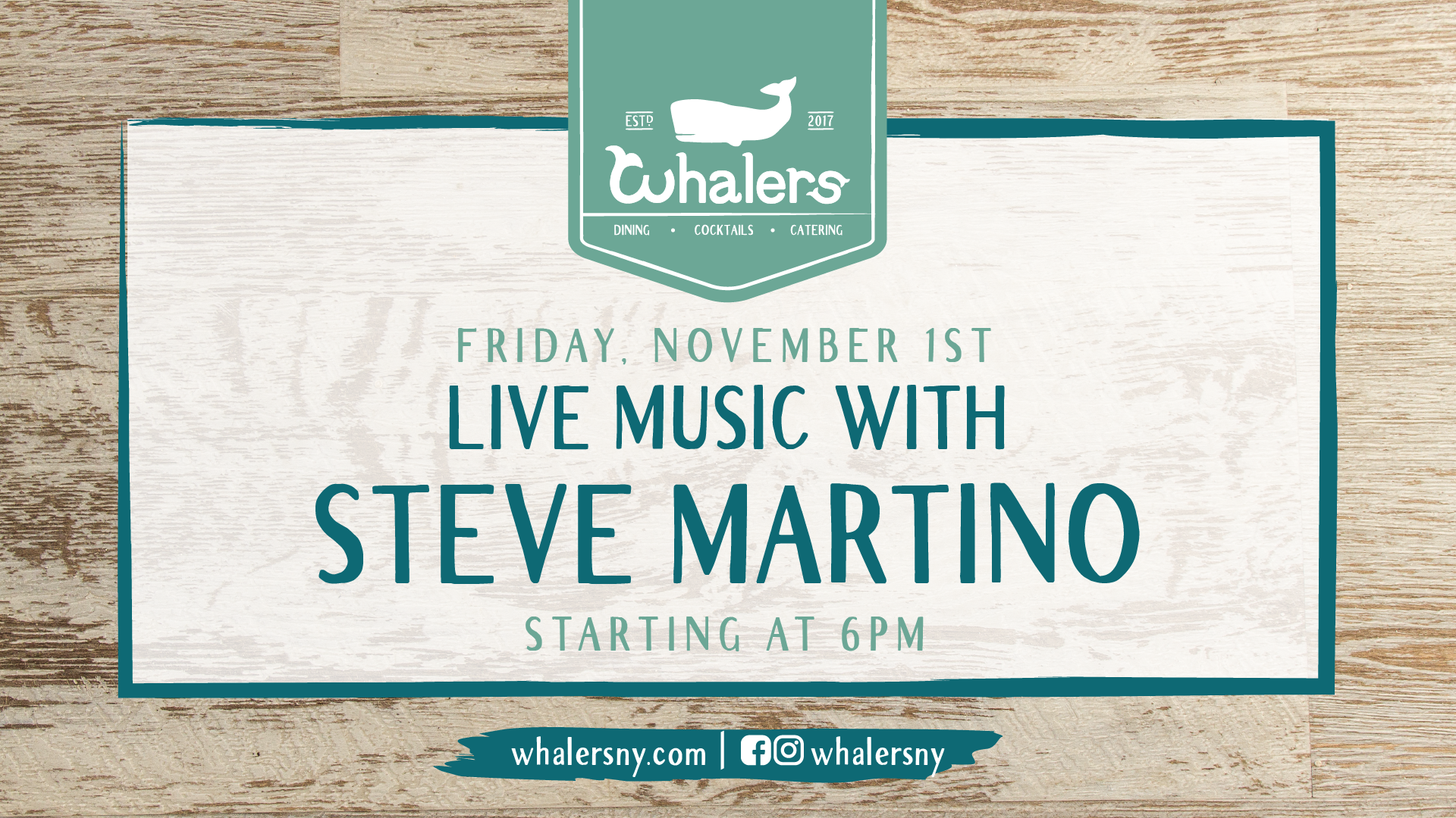 Flyer for live music with Steve Martino on Friday, November 1st starting at 6pm
