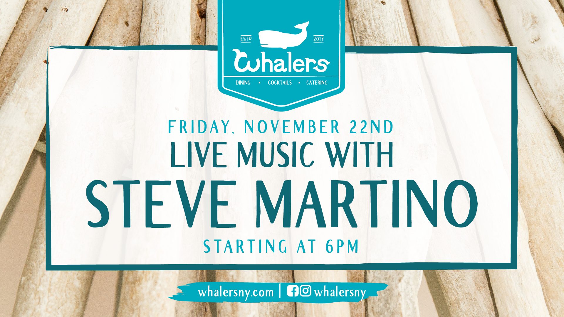 Flyer for Live Music with Steve Martino on Friday, November 22nd at 6pm.