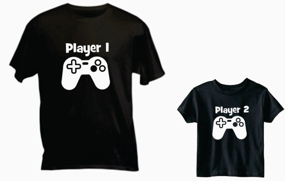 Dad and Baby Shirts - Player 1 Player 2