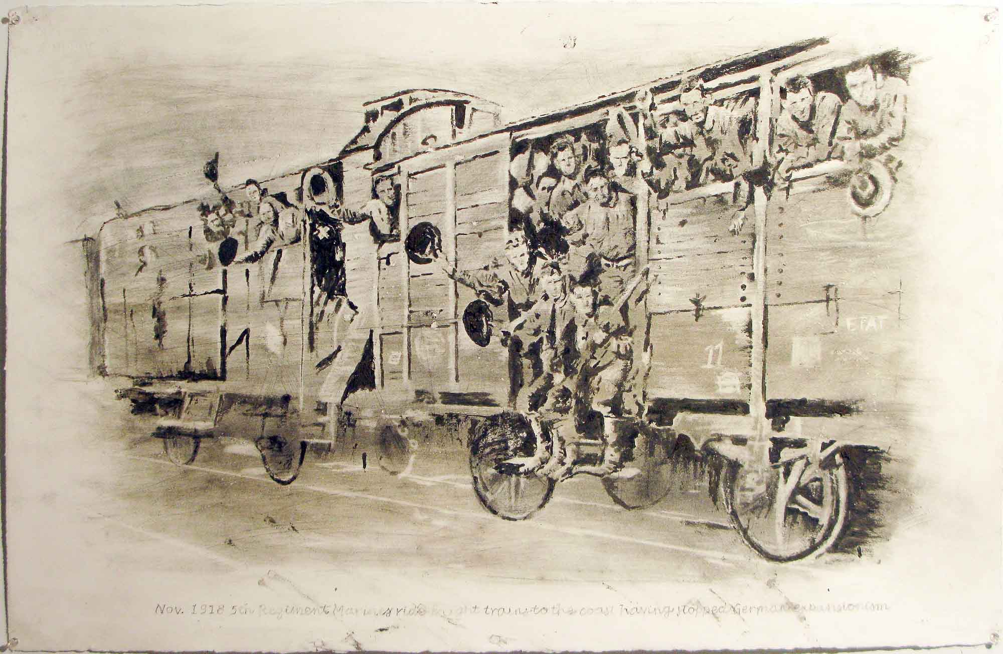 Nov. 1918 5th Regiment Marines Ride Freight Trains to the Coast Having Stoped German Expansion