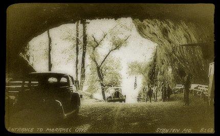 Vintage photo of the entrance to Meramec Caverns