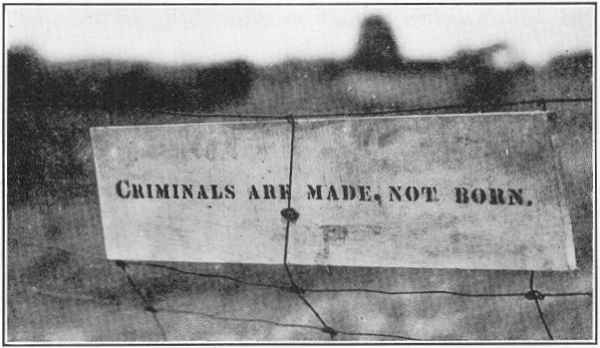 (Above) The Kehoe farmhouse before it was set on fire.    (Below) A sign that Kehoe left in the fence at the farm, discovered by investigators after the explosion.