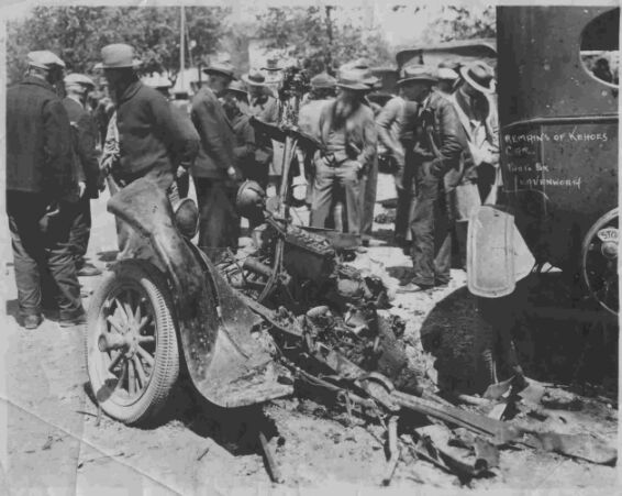 The remains of Kehoe's car, which he had also caused to explode outside of the school.