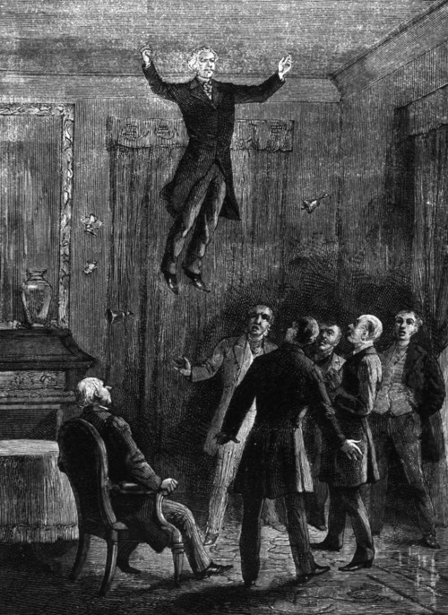 A contemporary illustration of one of Home's levitations -- which always occurred in well-lighted rooms in front of many witnesses. Mass hallucinations or some unearthly power?