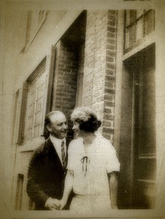 Houdini and Margery outside of her home on Lime Street in Boston. The two appear to be very friendly in this candid shot.