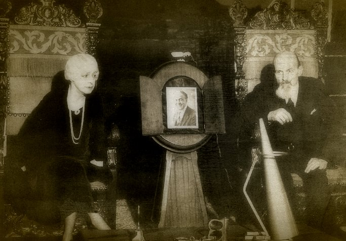 Bess Houdini and Eddie Saint as they prepare for the last Official Houdini Seance in 1936 -- 10 years after Harry's death