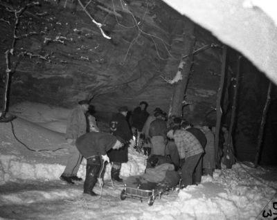 Recovering the bodies from the depths of the canyon was a major undertaking in the snow.