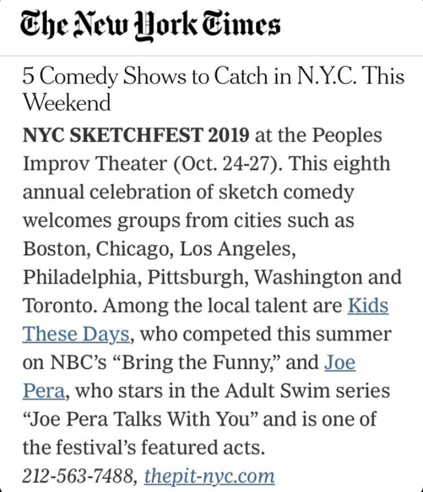 New York Times  recommends NYC Sketchfest and Kids These Days