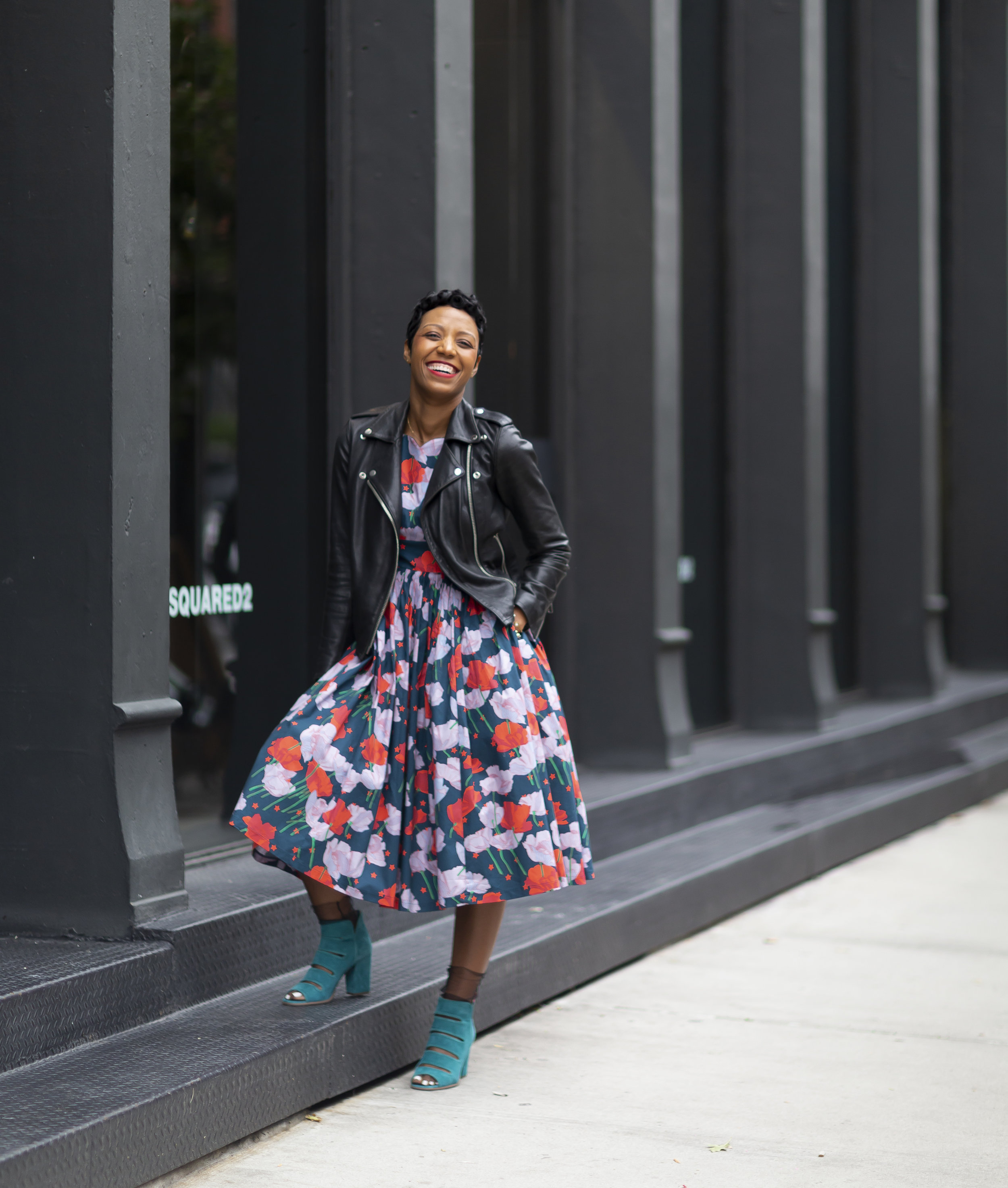 Jacket from Armani Exchange (click  here  for something similar).  Dress ,  Shoes , and  Scarf  provided by ModCloth.