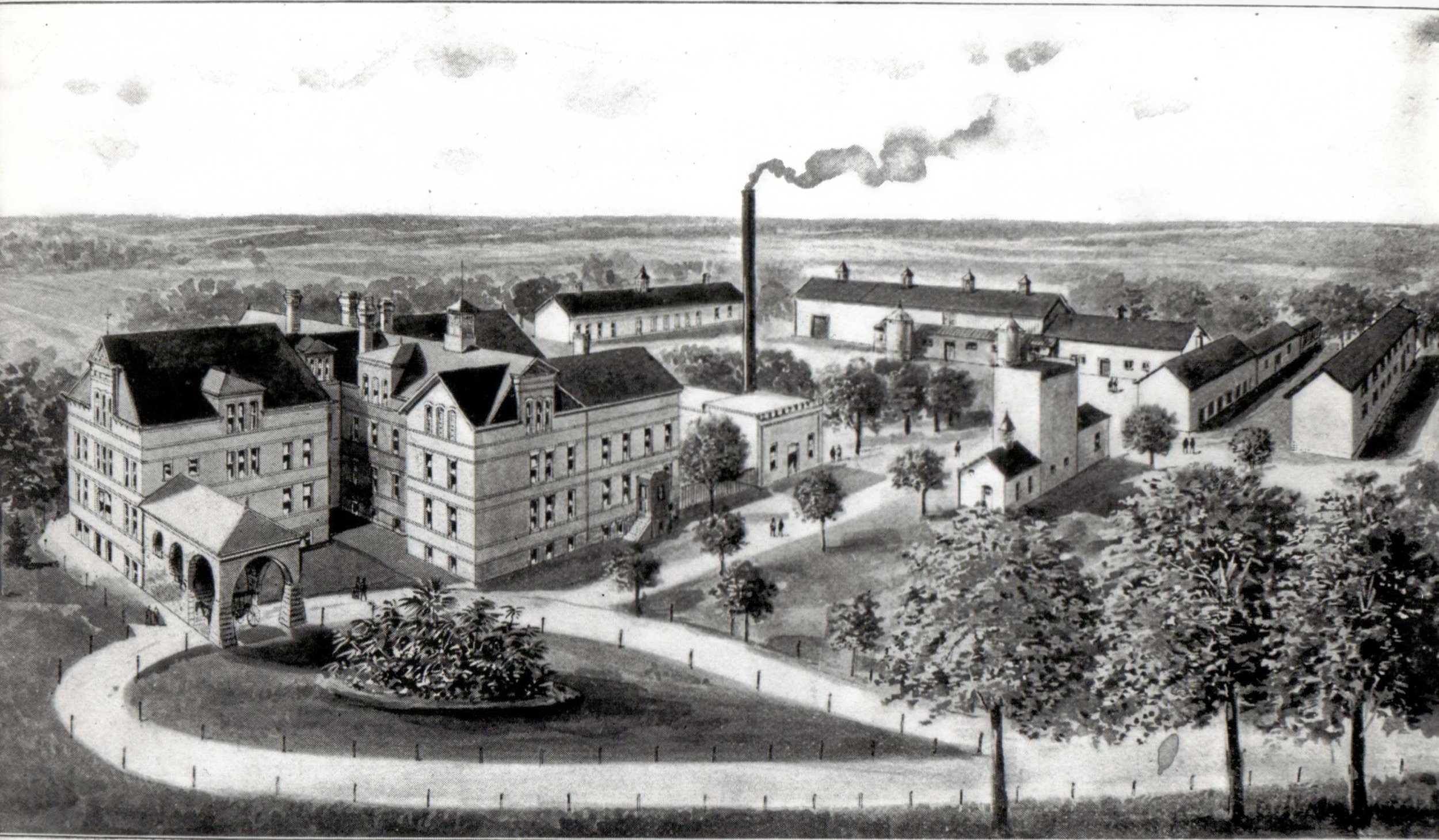 Line drawing of the Manitowoc County Hospital for the Insane, circa 1895.