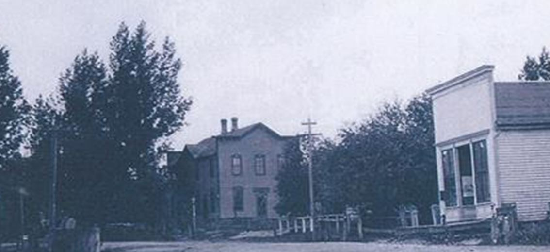 Clarks Mills Street scene, 1915. You can see what is now Spudz in the background and the General Store, which is now at the Manitowoc County Historical Society's Pinecrest Village, on the right.