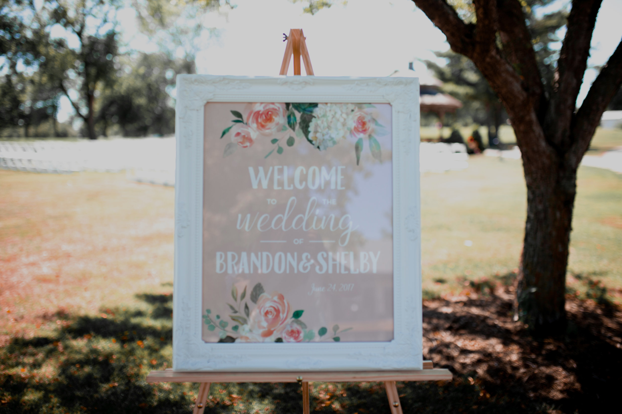Shelby + Brandon - June 2017 — Shelby + Brandon had a sunny outdoor wedding full of glitzy, soft, and floral feels. I designed various signs for the wedding and reception based on Shelby's vision.