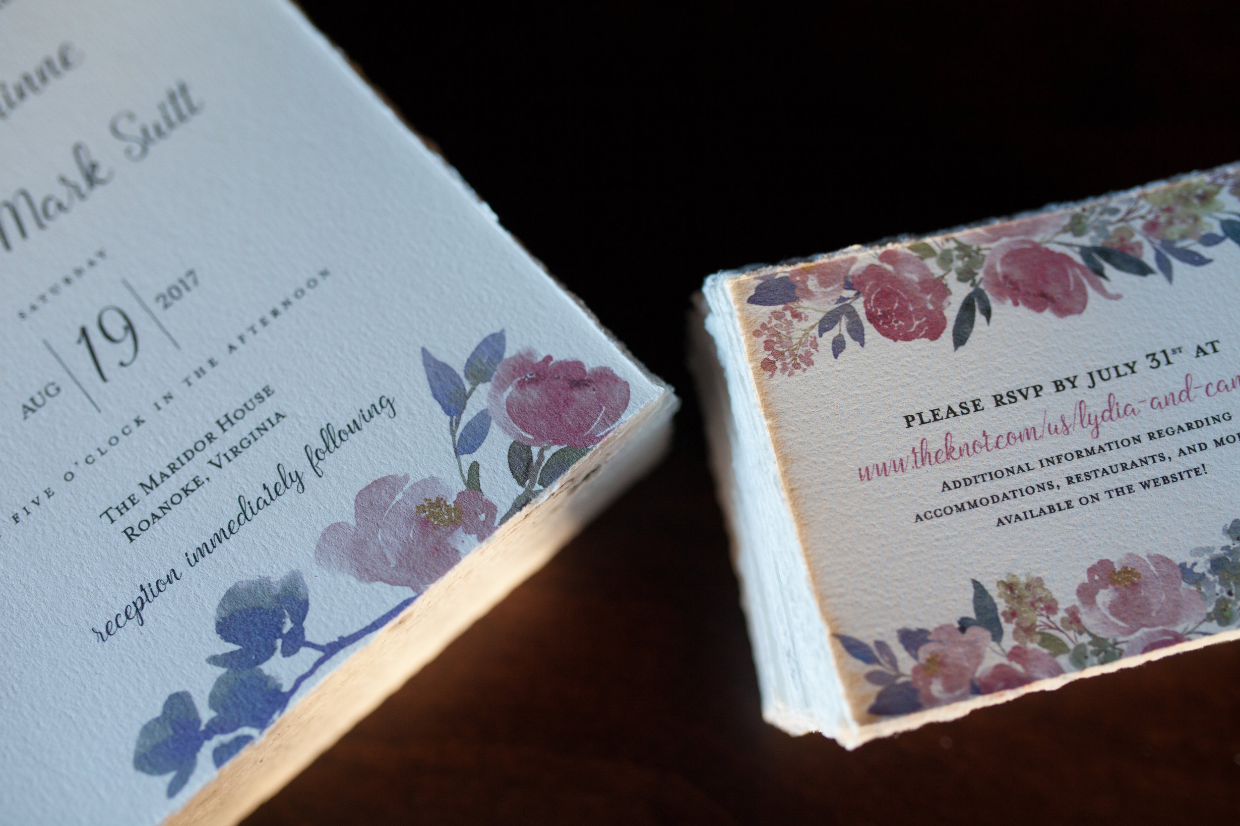 Lydia + Canaan - August 2017 — I was delighted to design these soft, elegant wedding invitations and RSVP cards for a dear friend and her now husband.