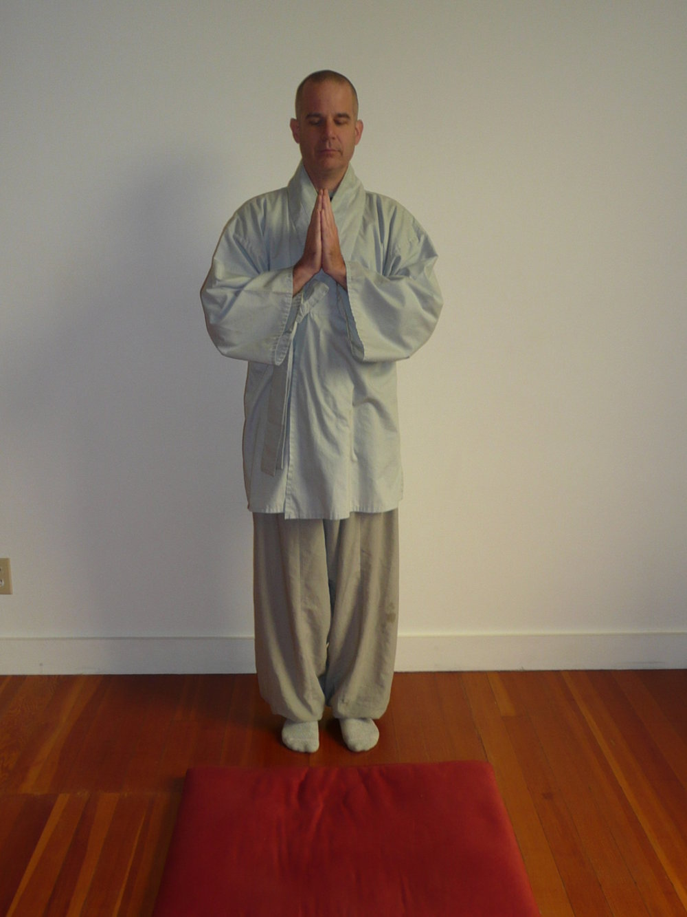 1. Put your hands in hapchang (palms together as shown at right), feet together -