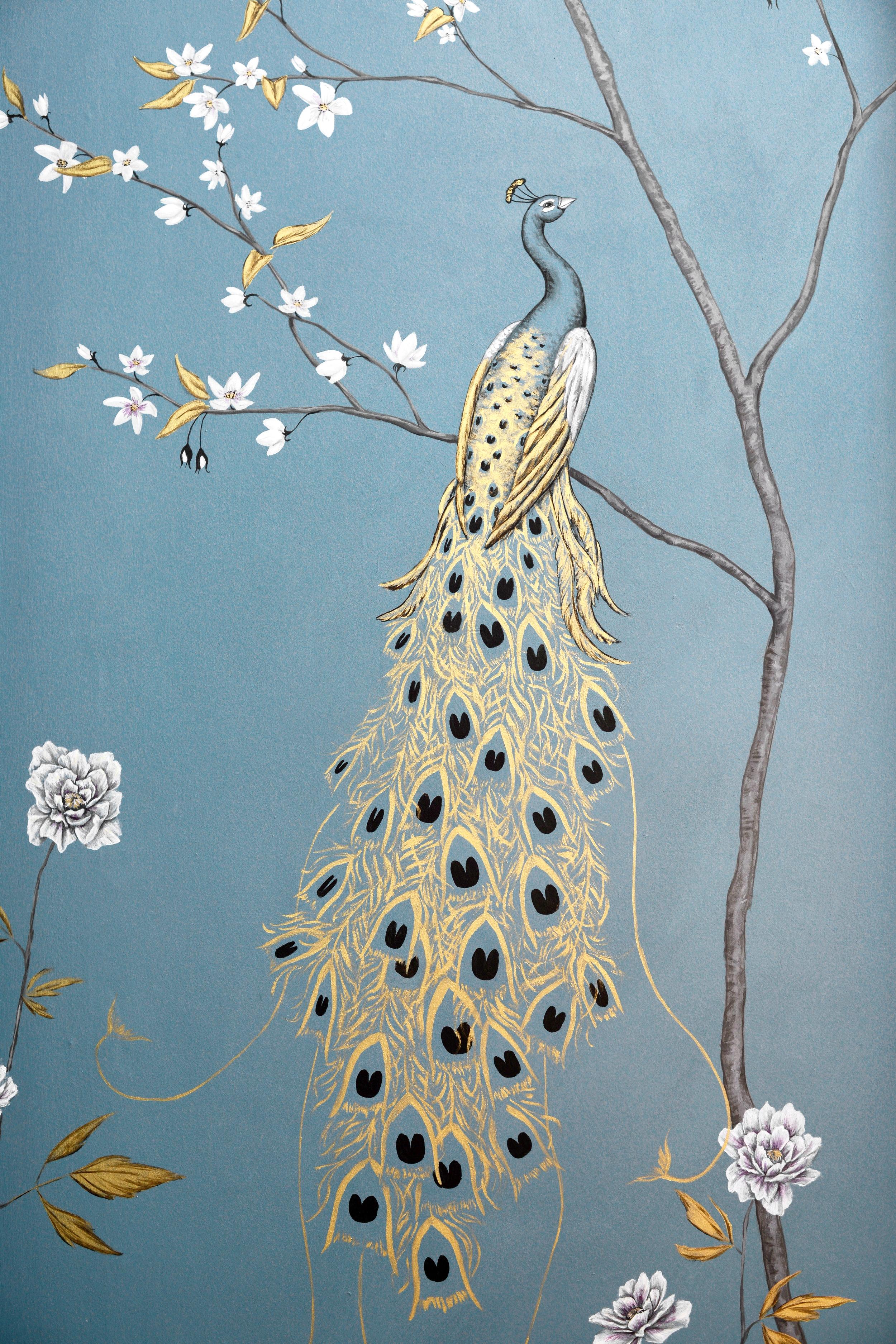 Fingest peacocks, wall mural, detail