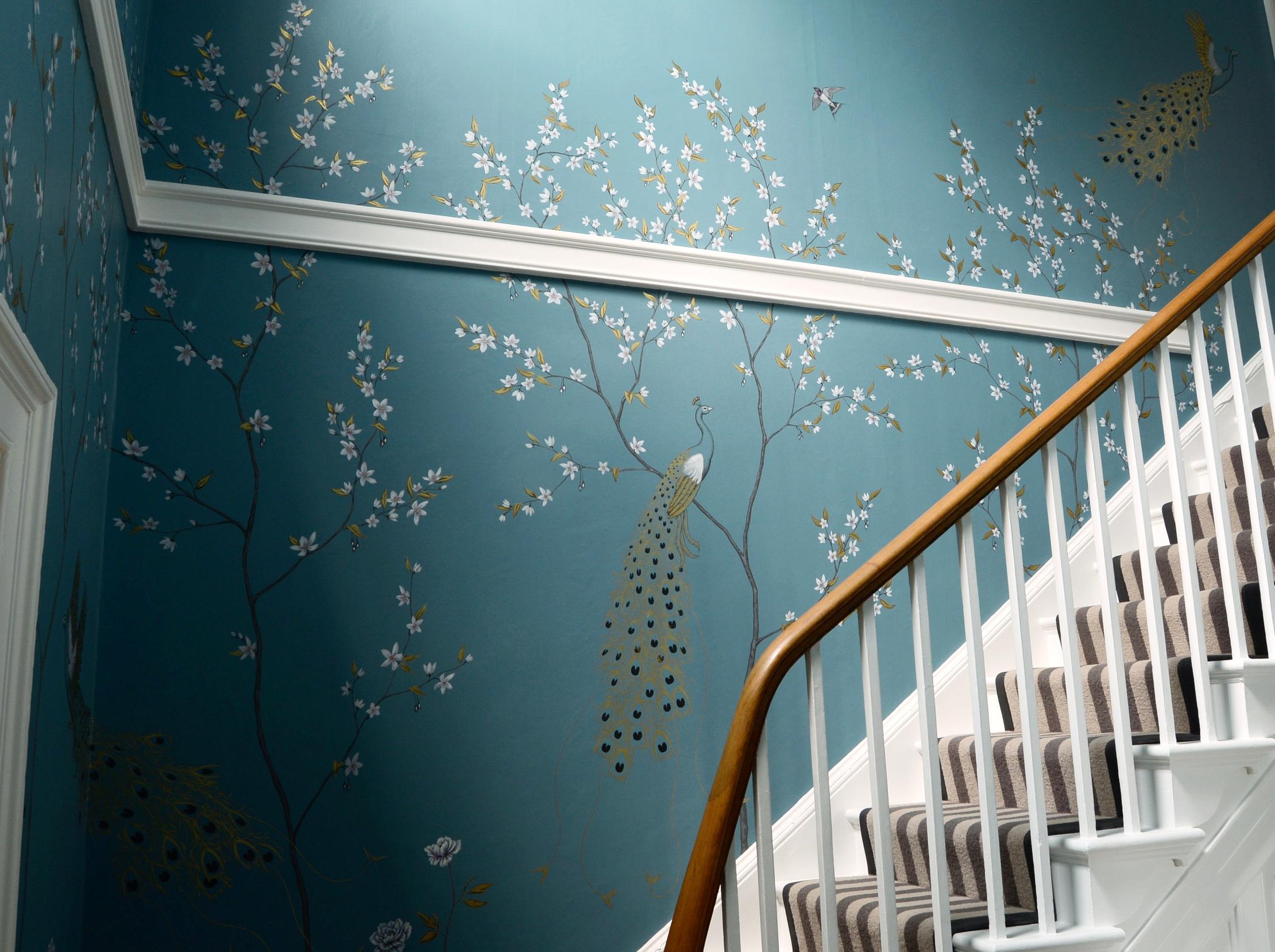 Fingest peacocks, wall mural, stairway detail 2