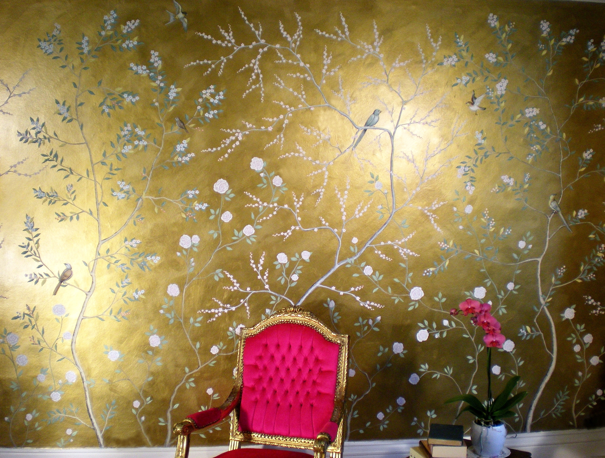 Golden chinoiserie, wall mural