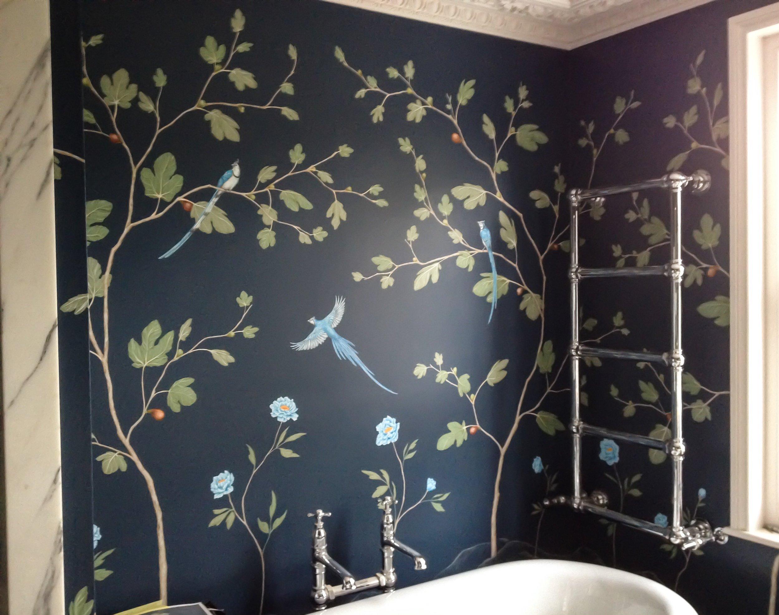 fig and jay bathroom mural, frederick Wimsett bespoke wall art