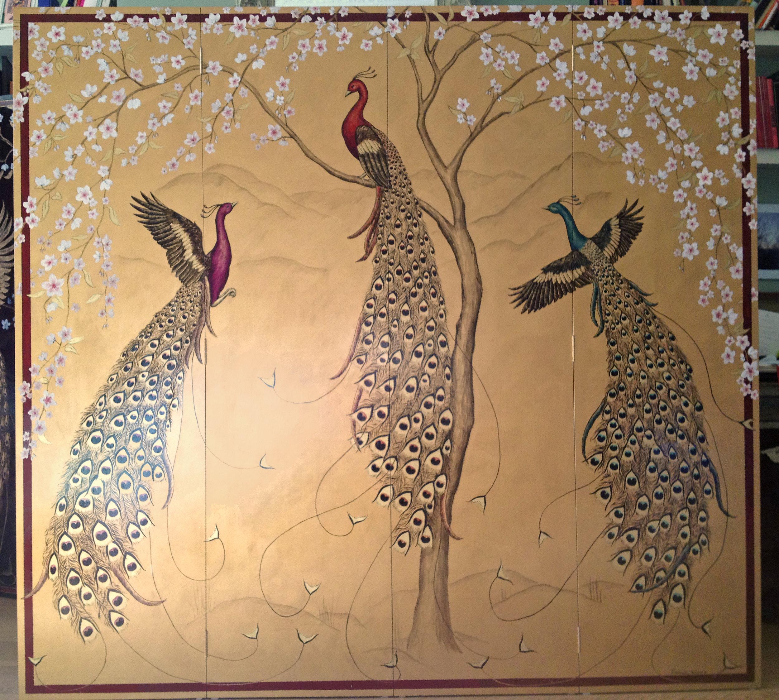 Murals - wall art - Frederik Wimsett -Birds of a Feather -Japanese screens