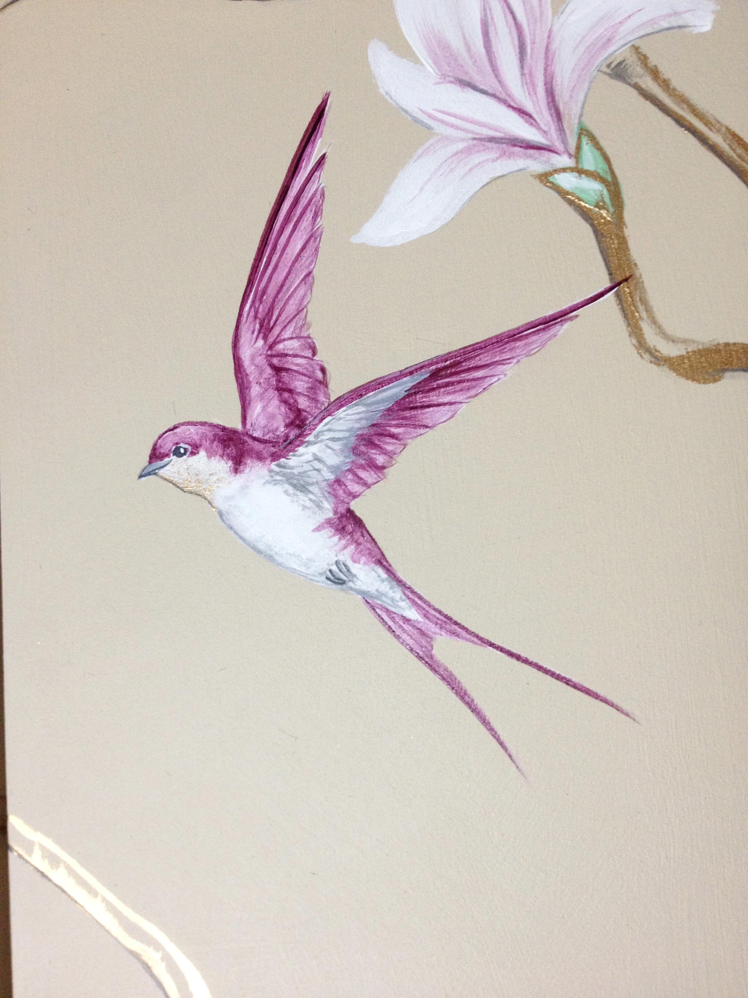 Magnolia and Bird of Paradise Screen detail 2  Frederick Wimsett - murals and artistic design 2.JPG