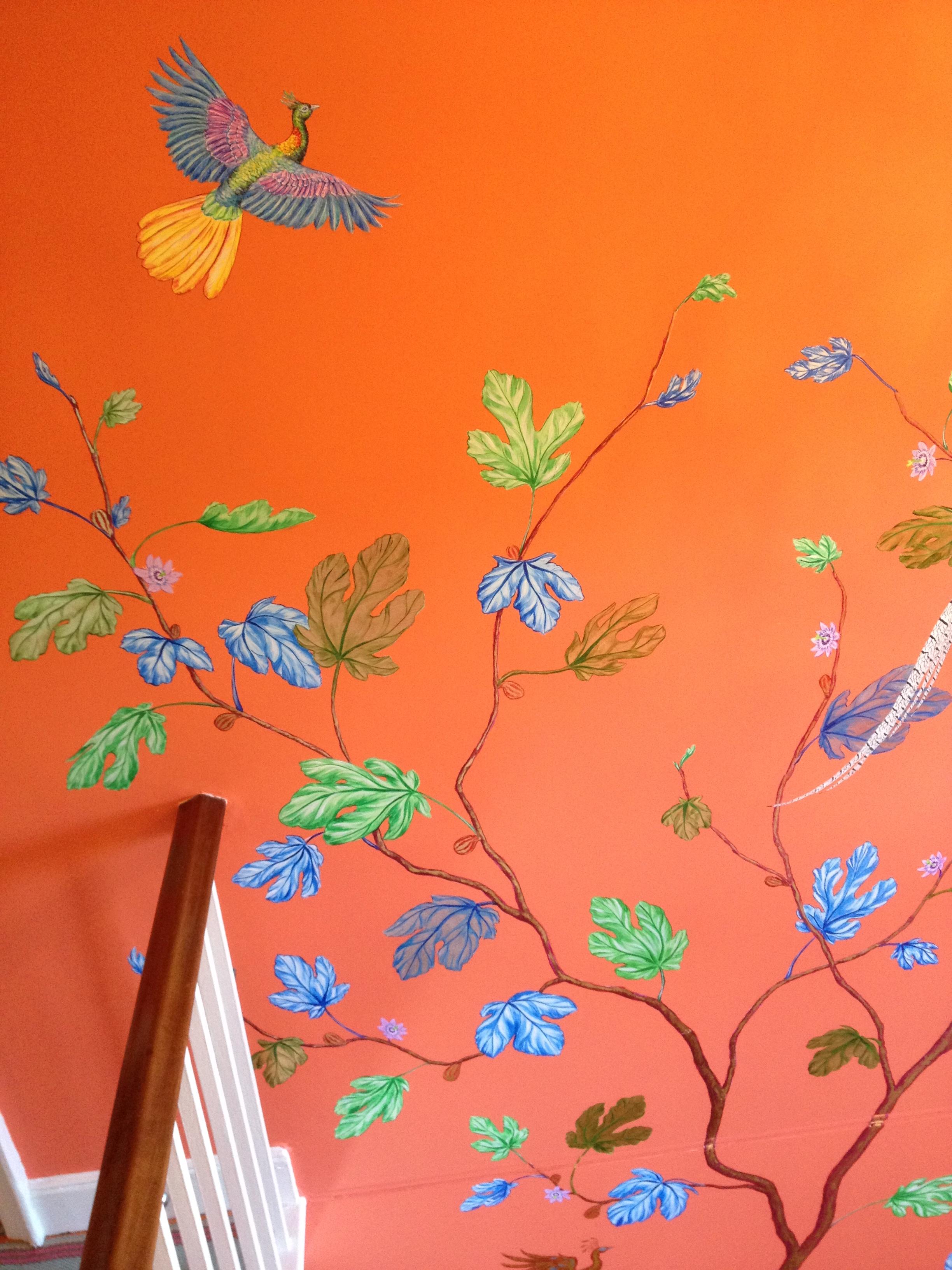 cozmo orange stairwell detail 3 - Frederick Wimsett - murals and artistic design - WALLS .JPG