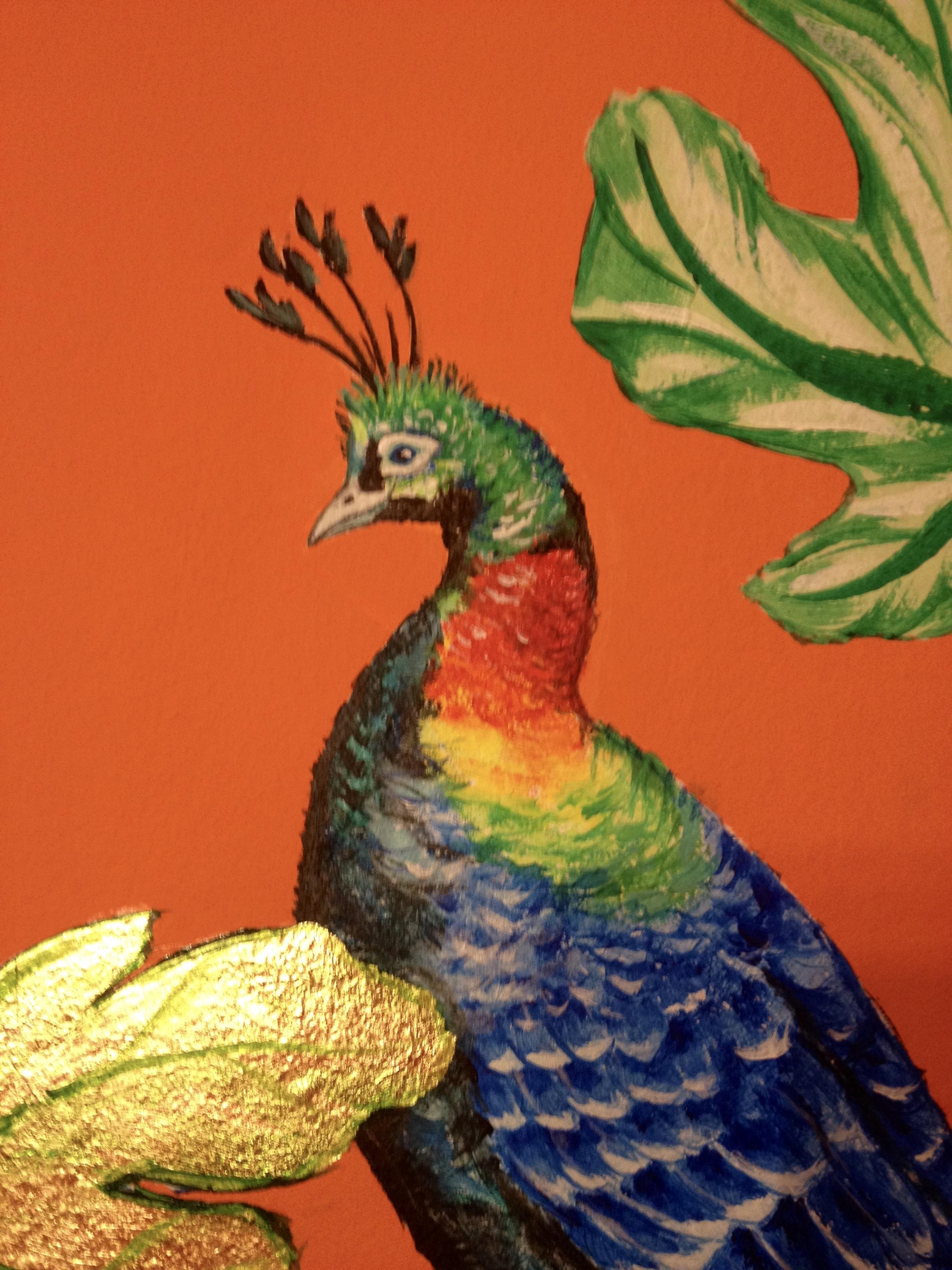cozmo orange stairwell - gold leaf detail - Frederick Wimsett - murals and artistic design - WALLS .jpg