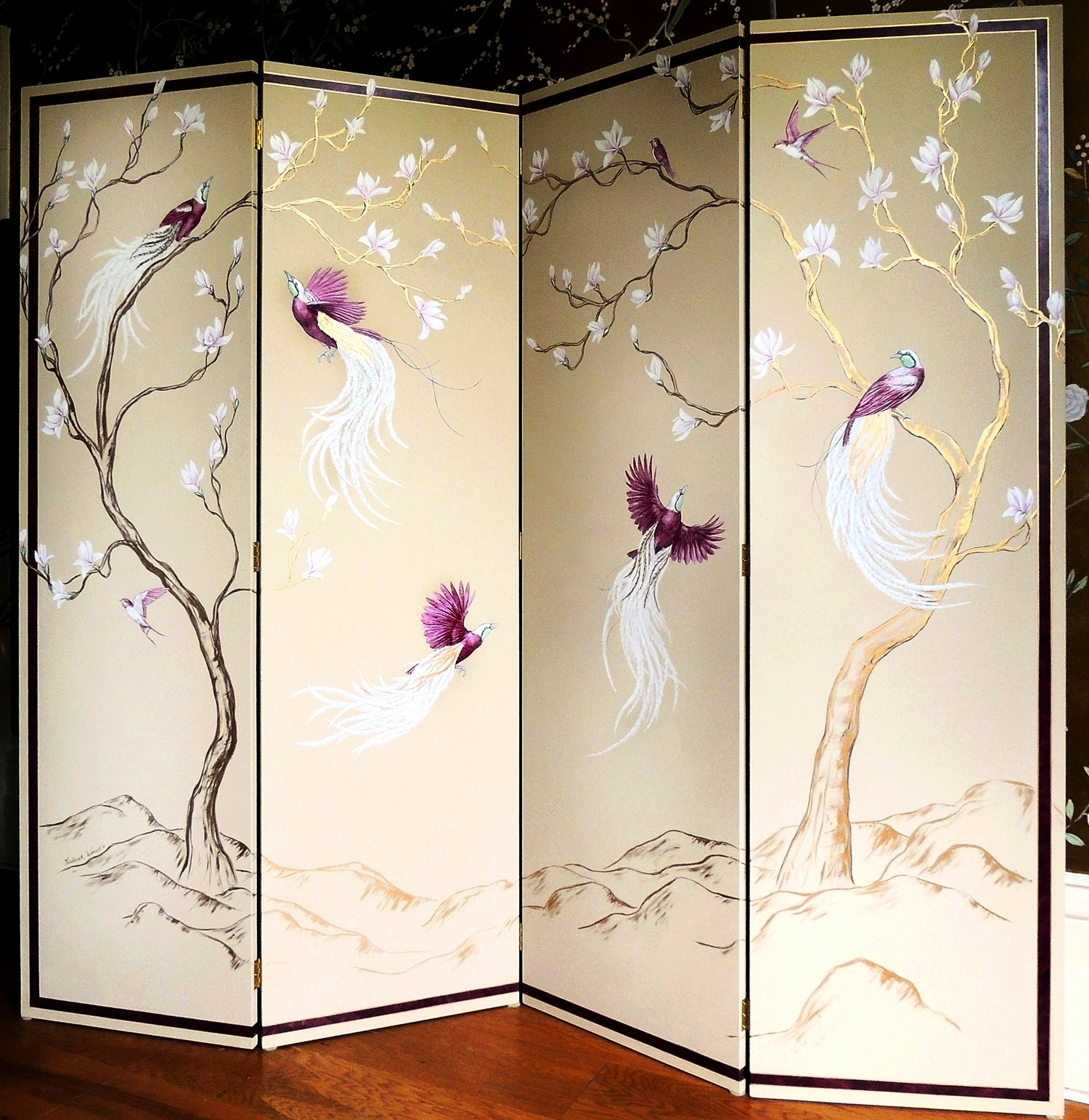Magnolia+and+Birds+of+Paradise+Screen++Frederick+Wimsett+-+murals+and+artistic+design+1+