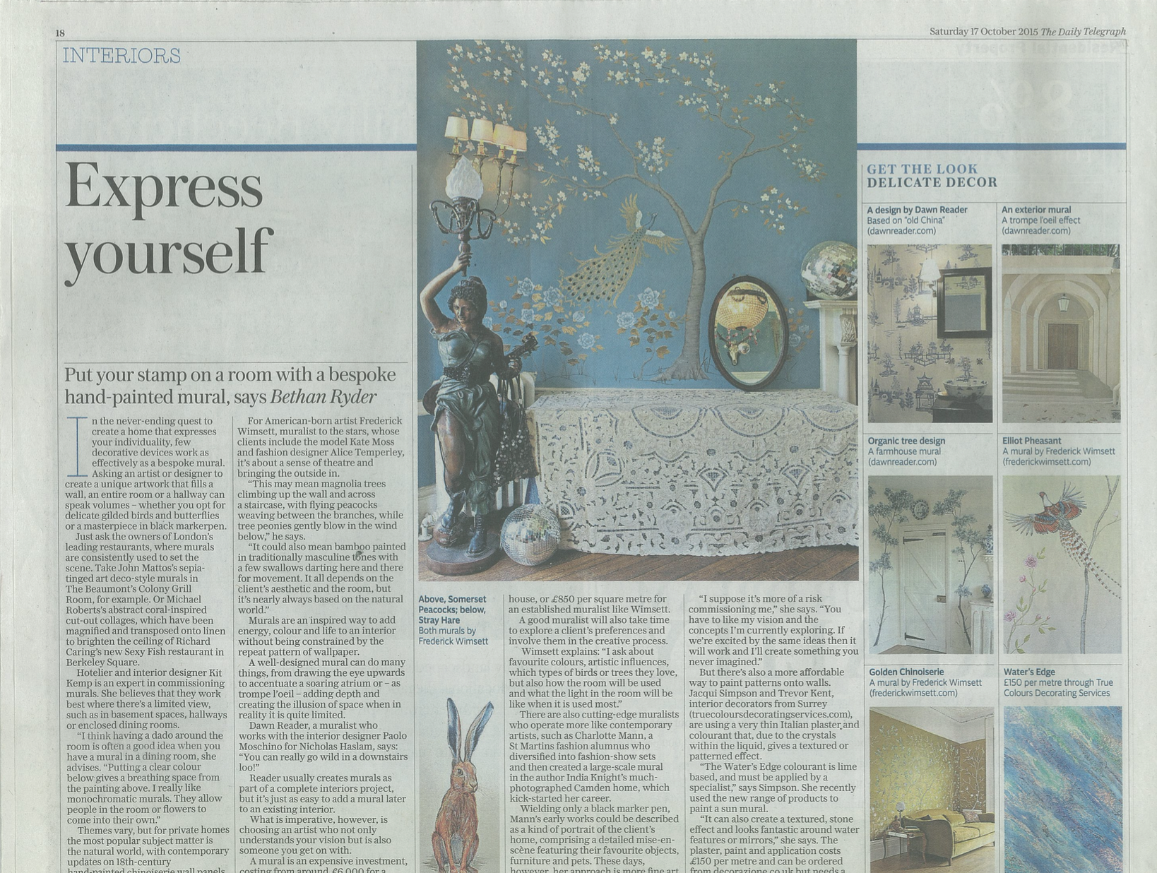 frederick wimsett - press - daily telegraph - interiors special- murals and artistic design
