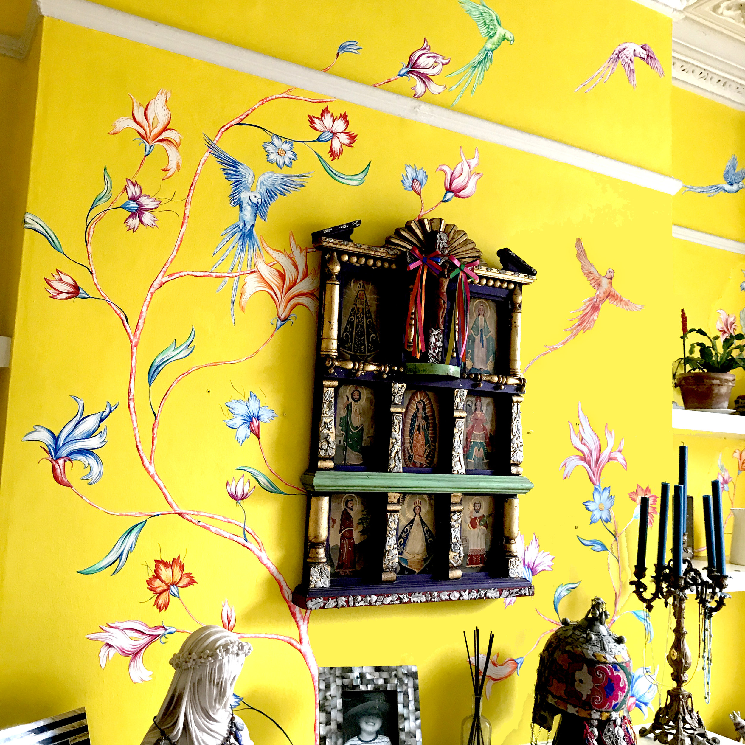 Mumbai Yellow Chinoiserie- inspired by a trip to India