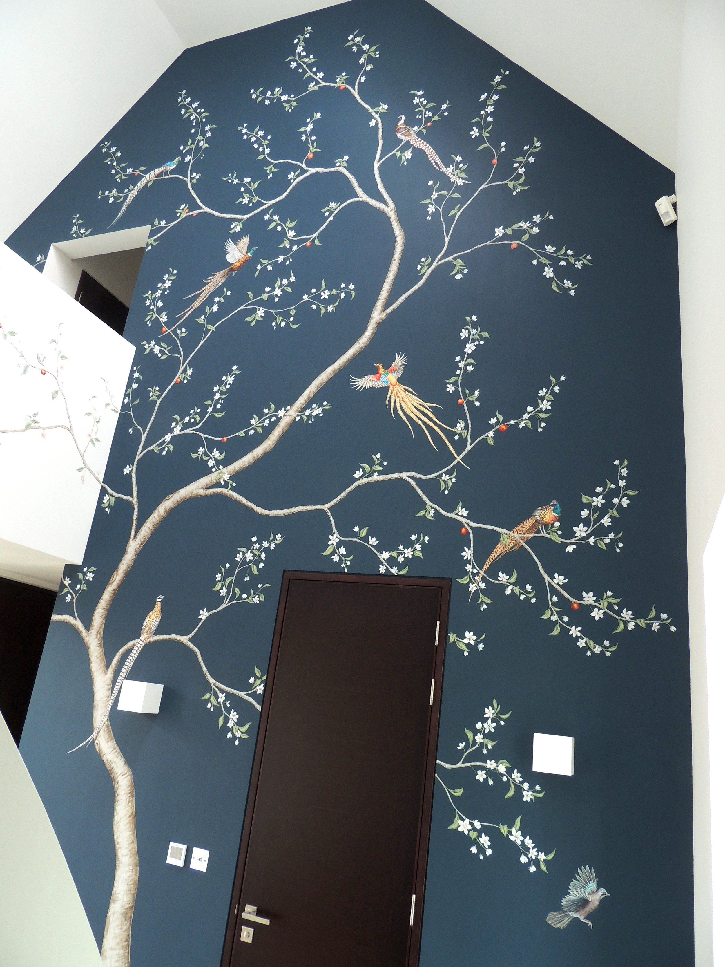 Apple Blossom and Pheasants Chinoiserie on Blue