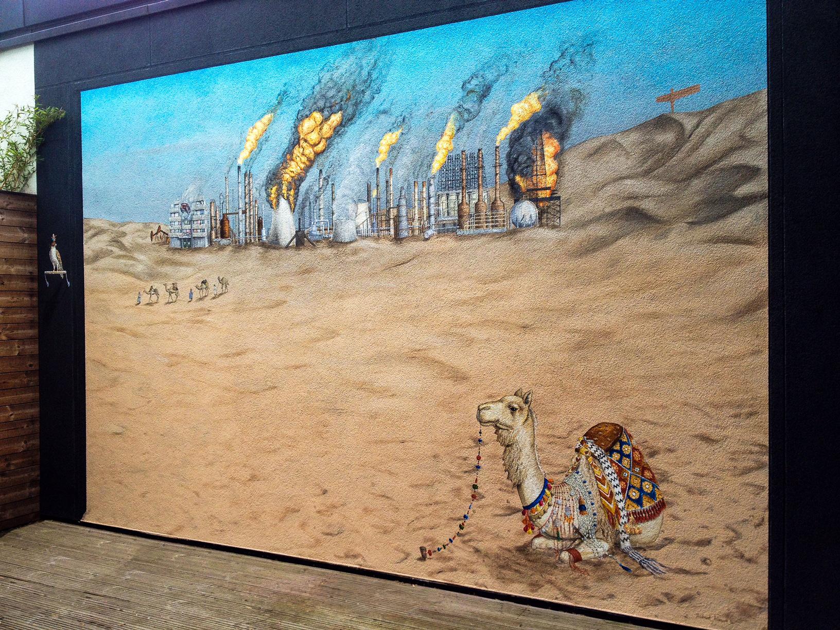 Dystopian desert mural.