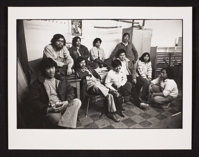 Partial list of people in the photo include: Crystal Huie, Dennis Tanaguchi, Jim Dong, Leland Wong, Nancy Hom, Richard Likon (kneeling)